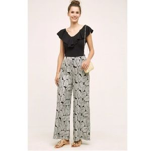 Anthro Elevenses Native Palm Leaf Palazzo Pants